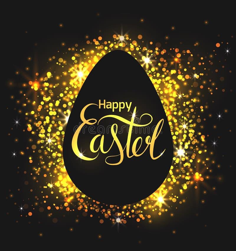 Поздравительная открытка с яйцом на черной предпосылке с рукописной помечая буквами счастливой пасхой и золотое сверкнают Каллигр иллюстрация вектора