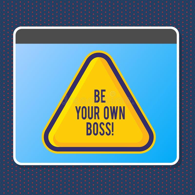 Показывать знака текста ваш собственный босс Схематическая компания начала фото работая не по найму запуск предпринимателя работы иллюстрация вектора