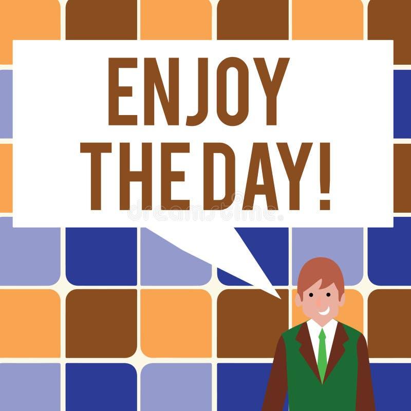 Показ знака текста наслаждается днем Время схематического образа жизни наслаждения фото счастливого ослабляя иллюстрация штока