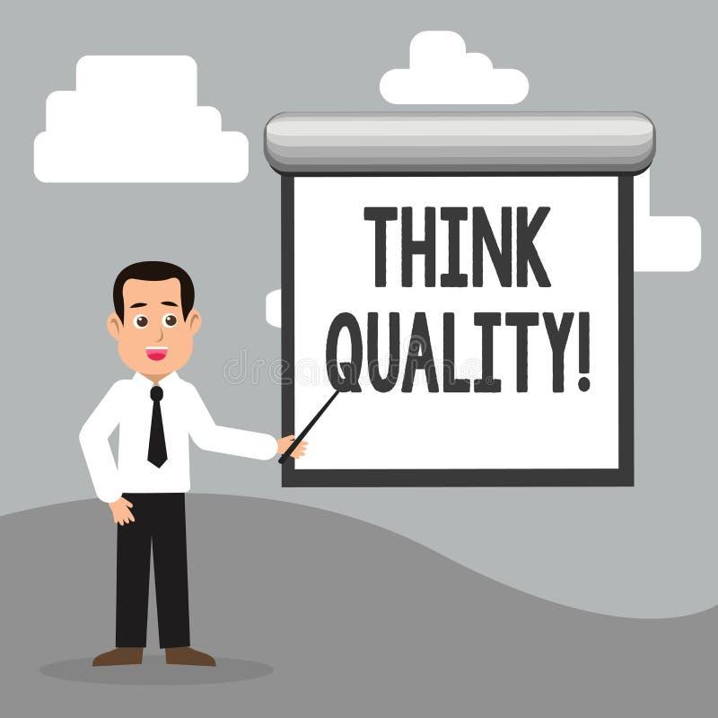 Показ знака текста думает качество Схематическое фото думая идей новаторских ценных решений успешных иллюстрация вектора