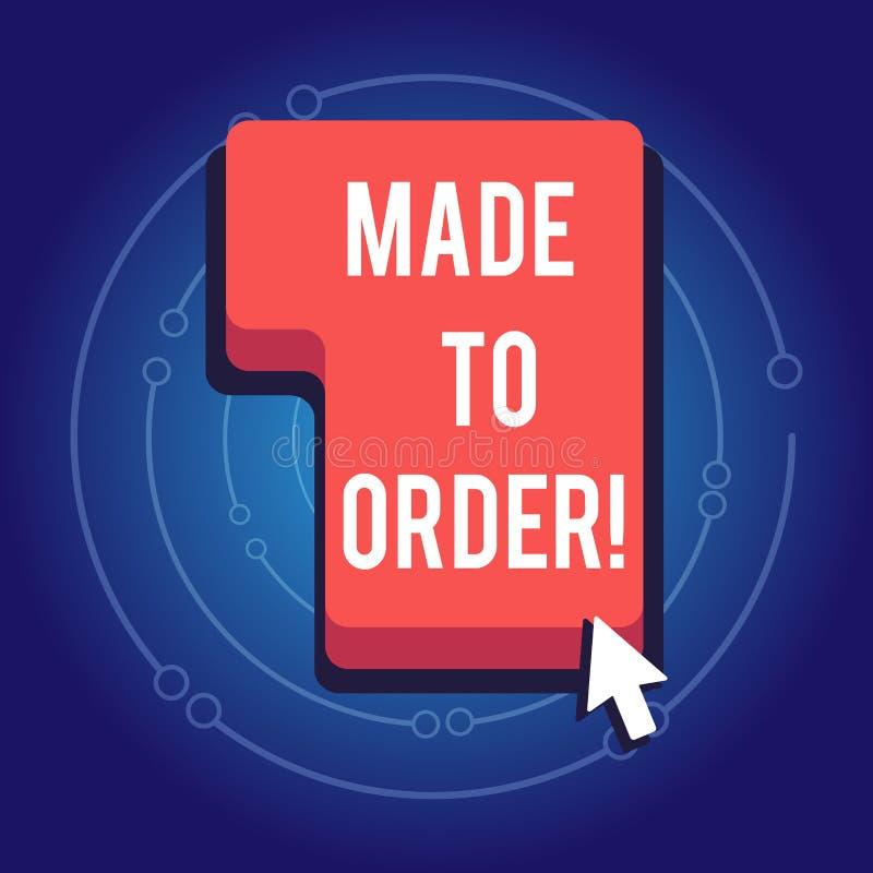 Показ знака текста сделанный для того чтобы приказать Схематическое фото что-то сделанное специально для кто-то портняжничало под иллюстрация штока