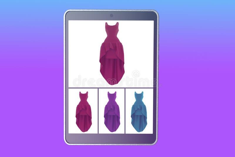 Покупая женщины одежды онлайн перевод 3d иллюстрация вектора