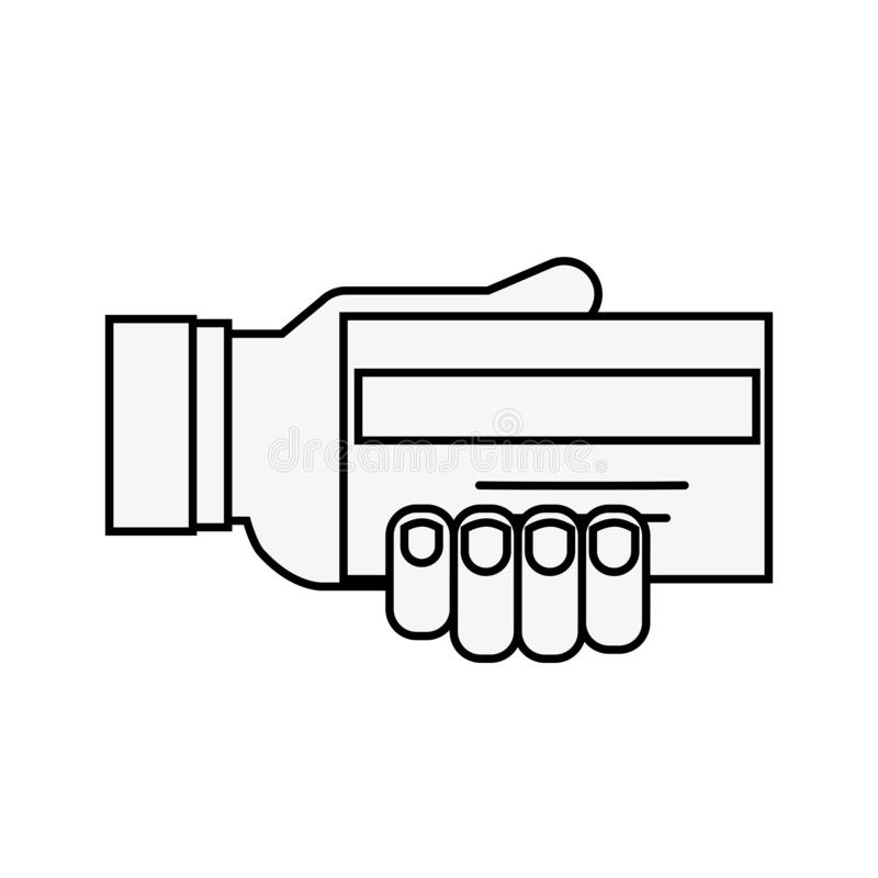 Покупки кредита карты банка удерживания руки онлайн иллюстрация штока