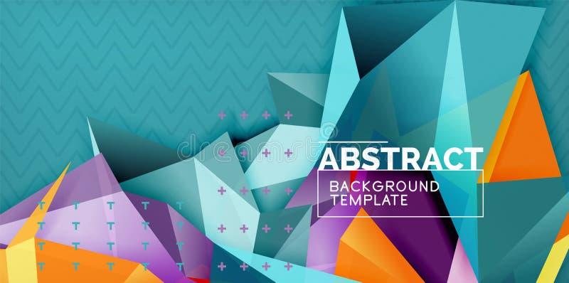 Покрасьте геометрическую абстрактную предпосылку, минимальный дизайн абстракции с формой стиля 3d мозаики иллюстрация вектора