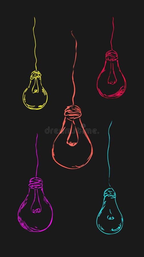 Покрашенные электрические лампочки в ярких цветах бесплатная иллюстрация