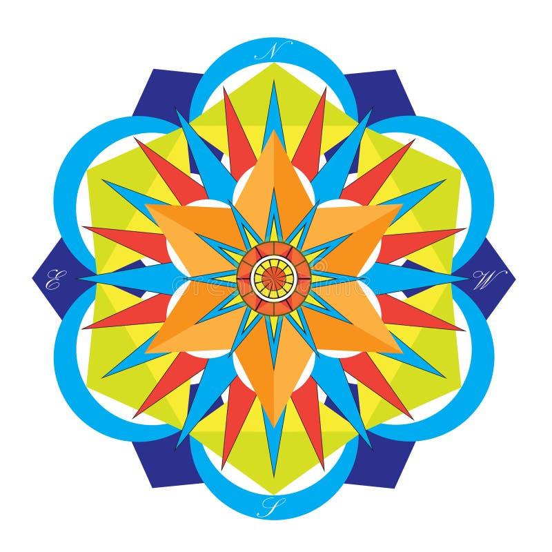 Покрашенный компас мандалы стоковые фотографии rf