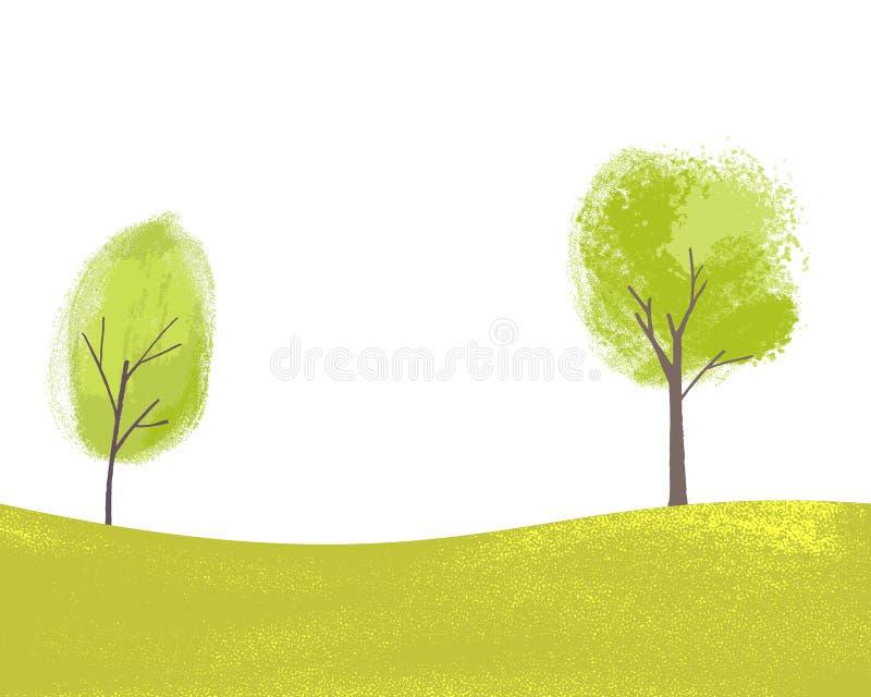 2 покрашенных дерева на зеленых холмах с травой Текстурированная иллюстрация весны и лета Мирный ландшафт с экземпляром иллюстрация вектора