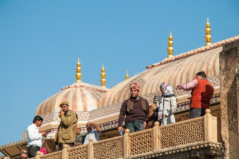 Политик Ganosh посещения туристов на форте Amer в Джайпуре, Индии стоковые фото
