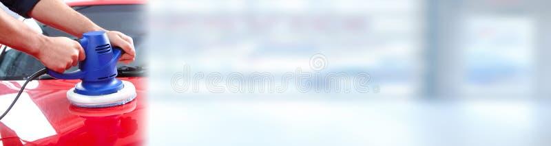 Полировщик автомобиля руки стоковая фотография rf