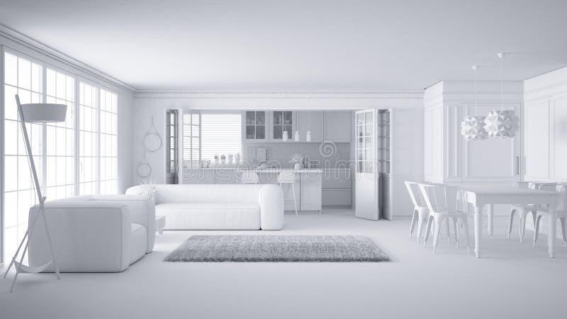 Полный белый проект минималистской белой живущей комнаты и кухни, большого окна и меха ковра, скандинавского классического дизайн иллюстрация вектора