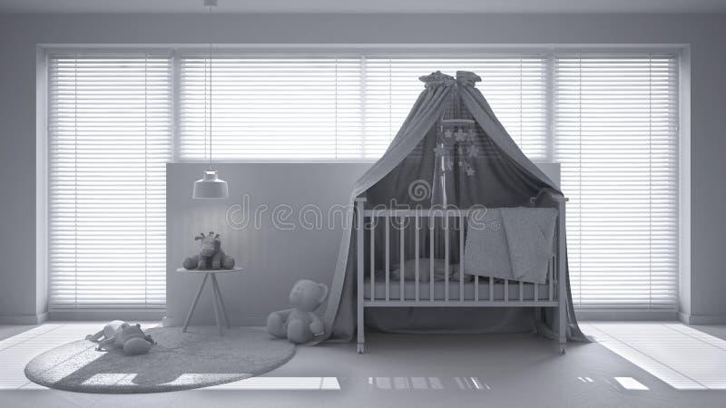 Полный белый проект скандинавского питомника с вашгердом сени, ковра, лампы прикроватного столика привесной и игрушек, большого о иллюстрация штока