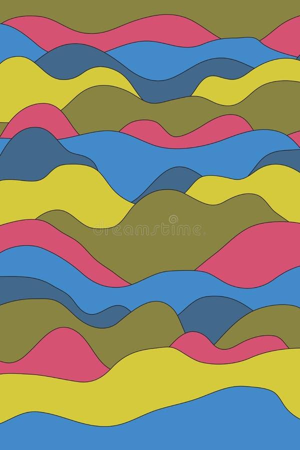 Полное изображение рамки предпосылки нашивок конспекта красочной волнистой иллюстрация вектора