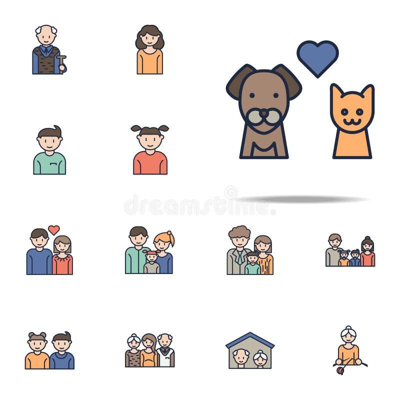 полюбите значок мультфильма котов и собак Комплект значков семьи всеобщий для сети и черни иллюстрация вектора