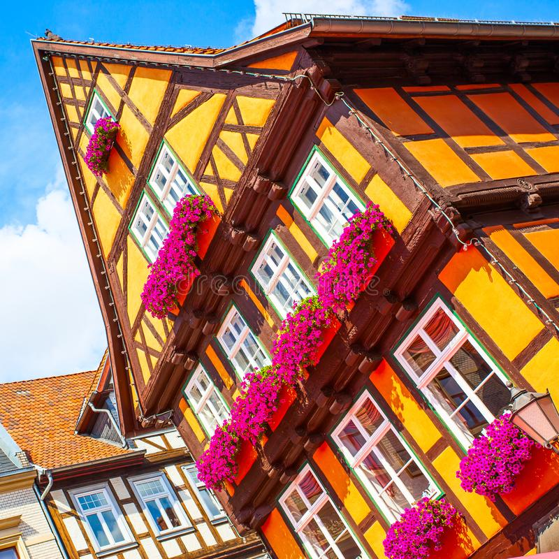 Полу-timbered старый дом в Кведлинбурге стоковые изображения