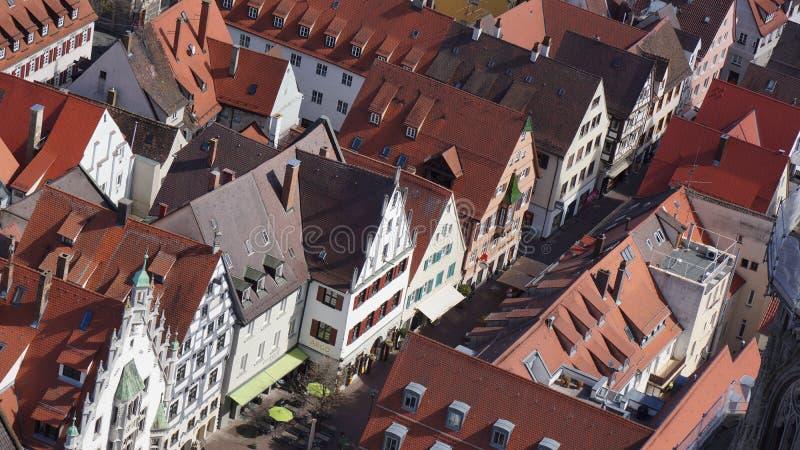 Половинный дом тимберса в улице ulm средневекового городского центра стоковое изображение rf