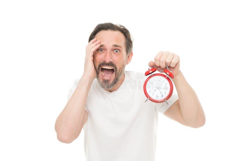 Понедельник снова Будильник владением человека в руке Беспокойство человека Гай бородатое зрелое о времени выведенном до работы К стоковые изображения rf