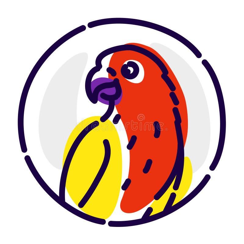 Попугай мультфильма Значок вектора плоский Изображение изолировано на белой предпосылке Попугай птицы в круге Символ, эмблема, бр иллюстрация штока