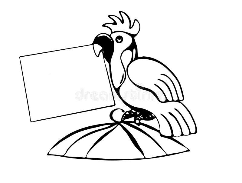 Попугай сидит поверх клетки и держит чистый лист бумаги в своем клюве бесплатная иллюстрация