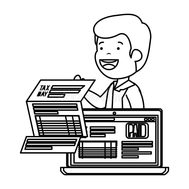 Подавленный человек для денег с налогами и ноутбуком иллюстрация вектора