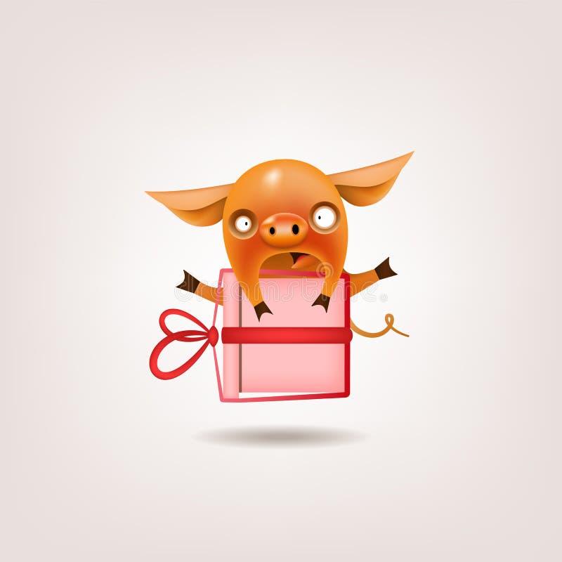Подарок свиньи Валентайн иллюстрация штока