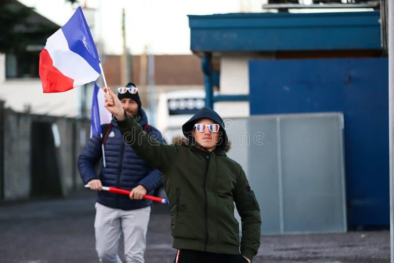 Под 20 6 нациями соответствуйте между Ирландией и Францией на ирландском независимом парке стоковое изображение