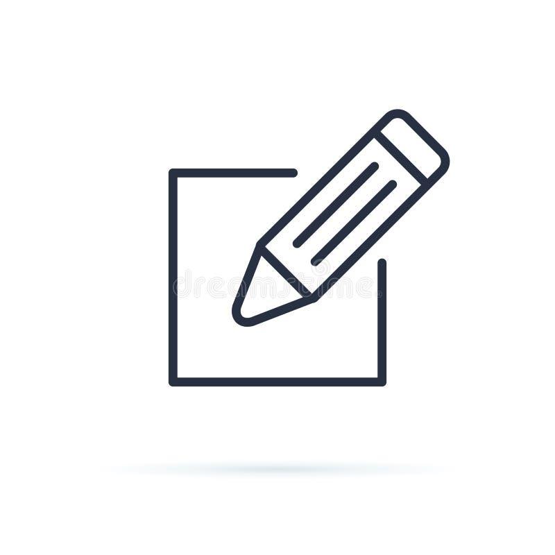 Подпишите вверх вектор значка Редактируйте вектор значка Значок карандаша Редактируйте знак документа Линия значок для вебсайта,  иллюстрация штока
