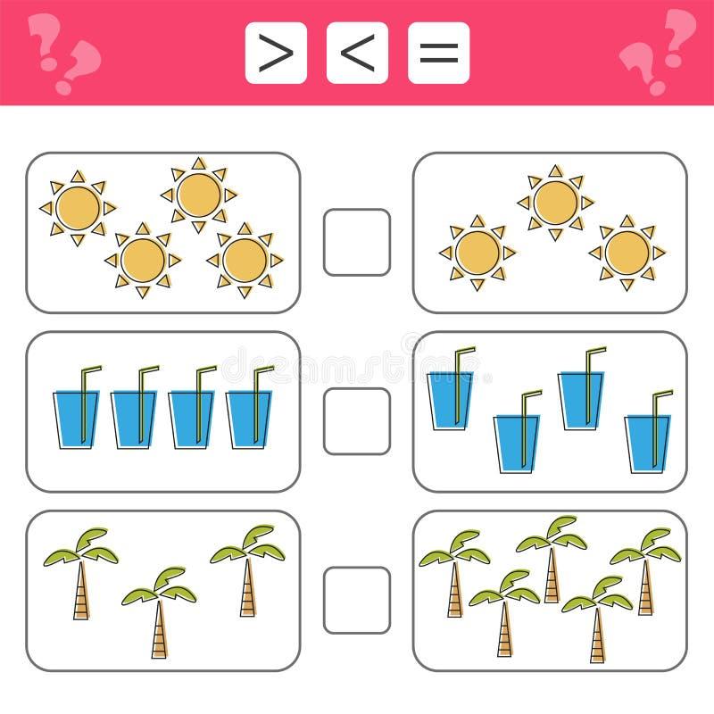 Подсчитывать игру для детей дошкольного возраста Воспитательный математически игра иллюстрация штока