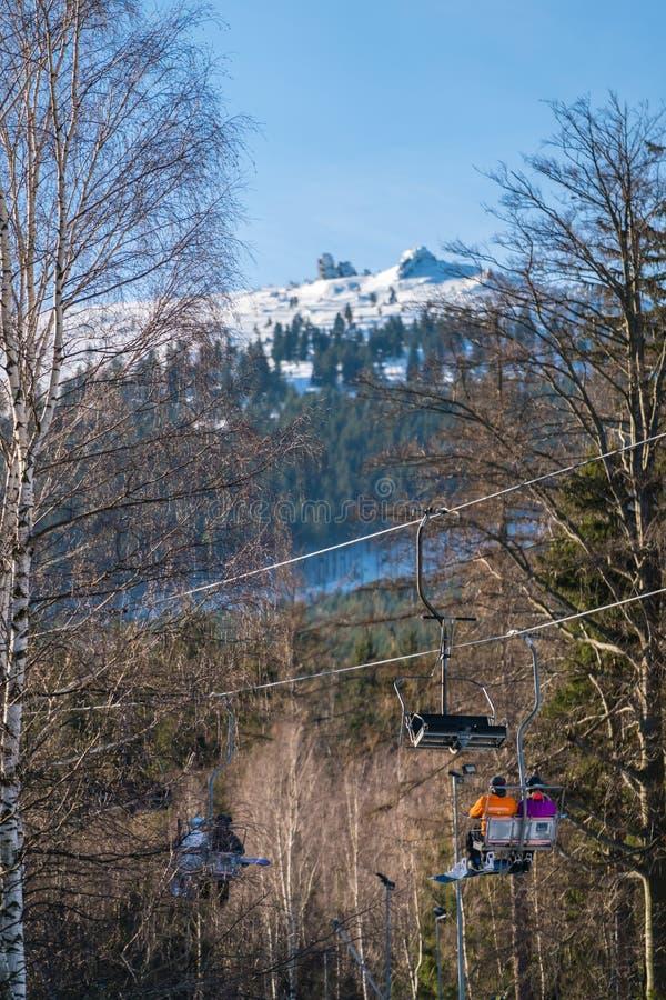Подъем стула лыжи в Szklarska Poreba стоковые фото