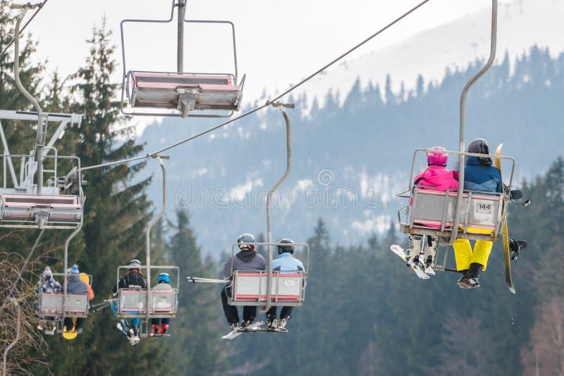 Подъем стула лыжи в Szklarska Poreba стоковые изображения rf