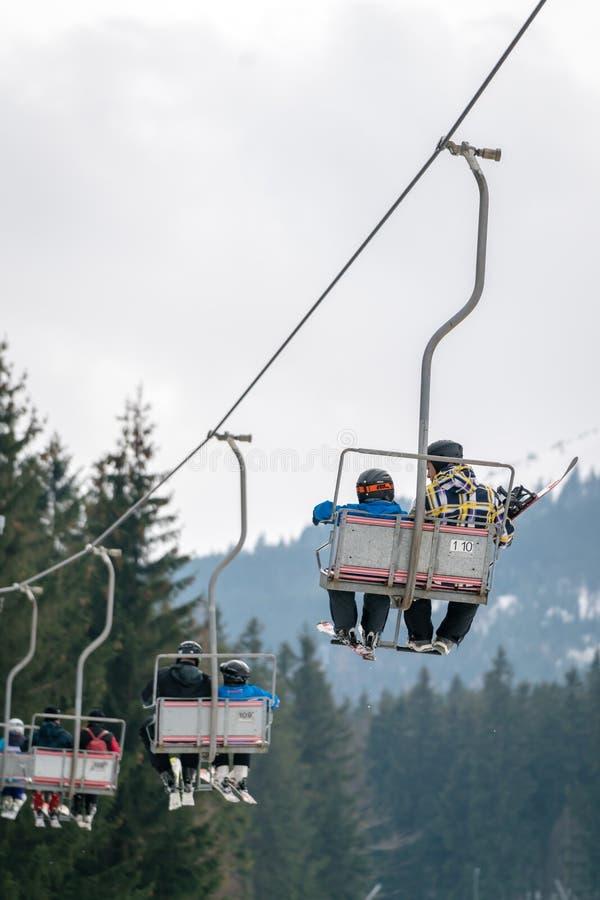 Подъем стула лыжи в Szklarska Poreba стоковое фото