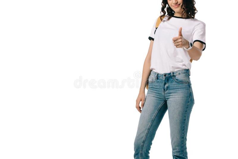 подрезанное изображение Афро-американского предназначенного для подростков большого пальца руки показа студента вверх стоковые изображения