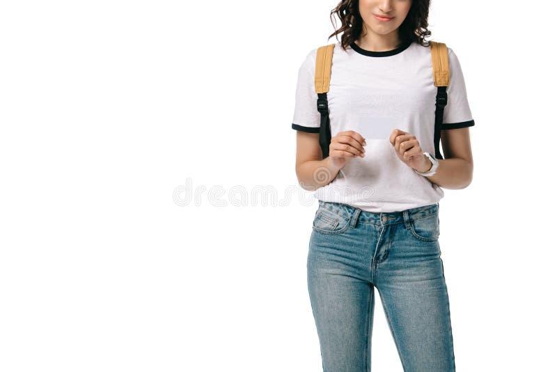 подрезанное изображение Афро-американского предназначенного для подростков студента держа пустую доску стоковое фото