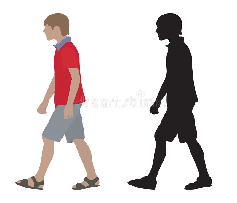 Подросток на двигая взгляде со стороны и силуэте изолировано также вектор иллюстрации притяжки corel иллюстрация вектора