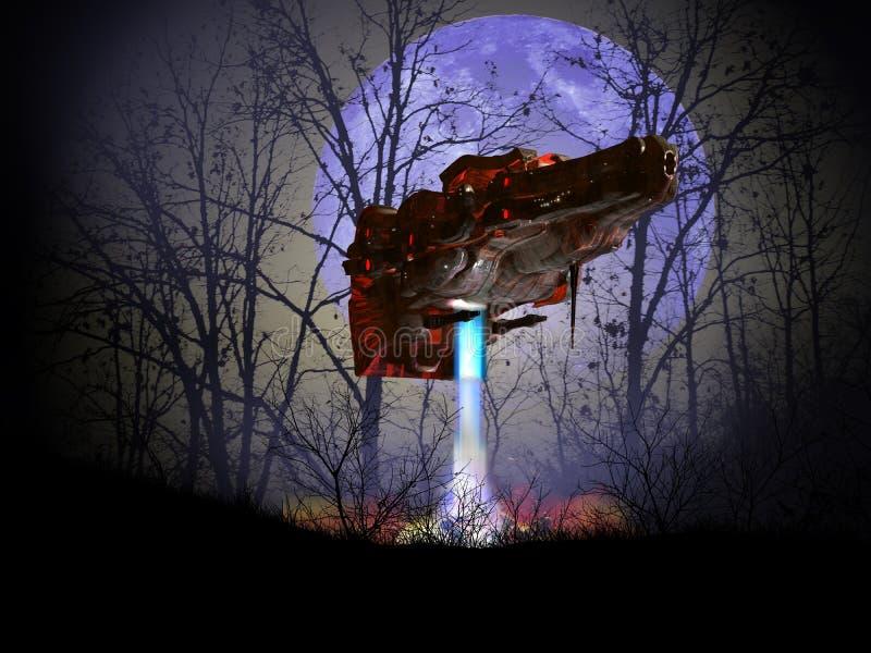 Посадка Ufo под голубой луной бесплатная иллюстрация
