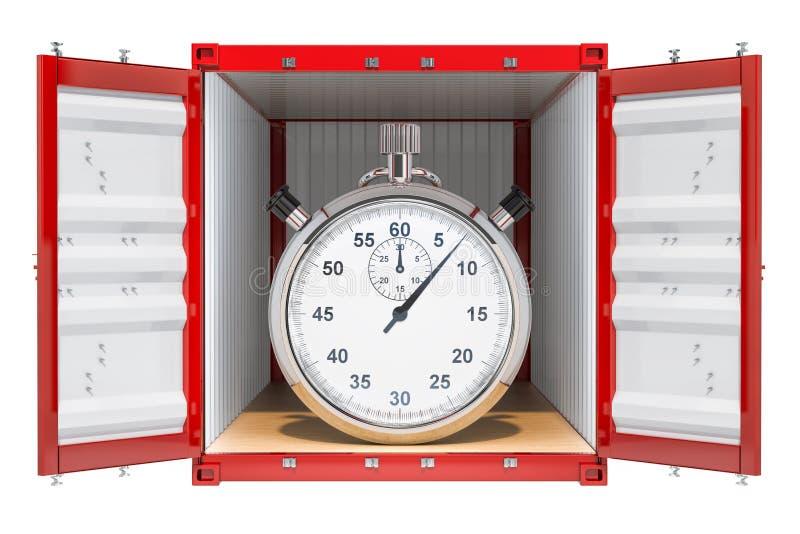поставка принципиальной схемы голодает Грузовой контейнер с хронометром внутрь, перевод 3D иллюстрация вектора
