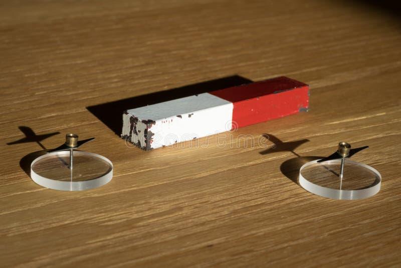 Постоянный магнит на деревянном столе с 2 иглами компаса стоковая фотография rf