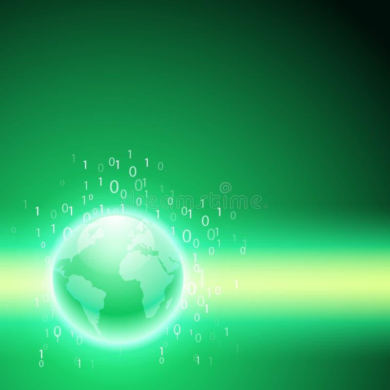 Поток бинарного кода к глобусу Зеленая предпосылка иллюстрация вектора