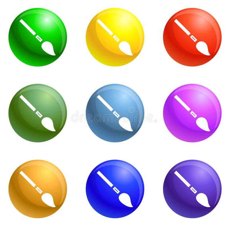 Почистьте вектор щеткой значков инструмента краски установленный иллюстрация вектора