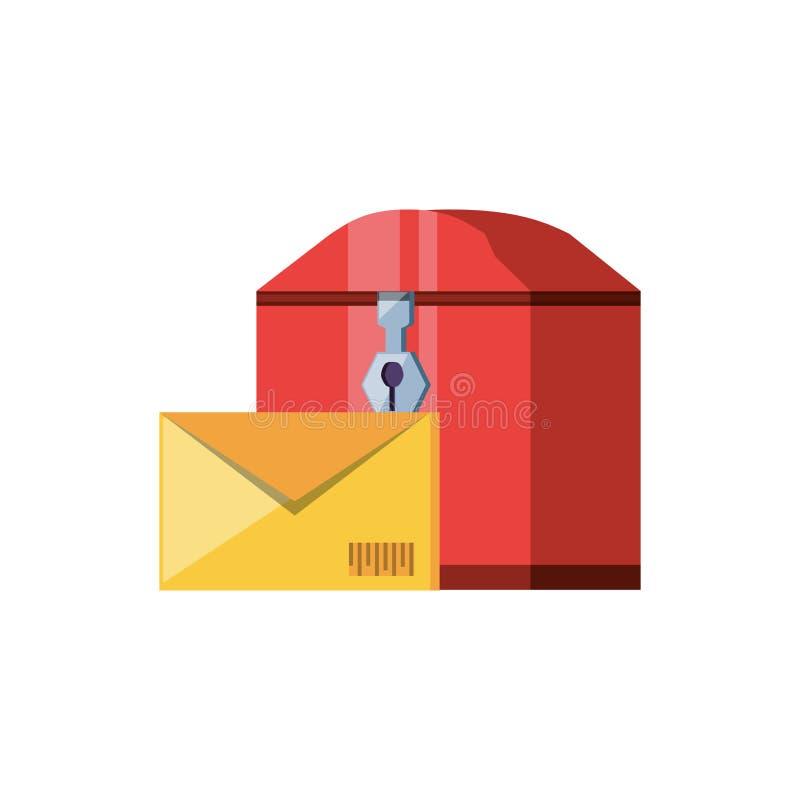 Почтовый ящик с обслуживанием доставки конверта иллюстрация вектора