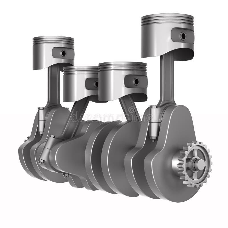 Поршени и кривошин двигателя на белой предпосылке Изолированная иллюстрация 3d иллюстрация штока