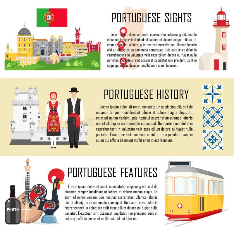 Португалия установила со знаменами традиционной кухни, истории и национальных привлекательностей иллюстрация штока
