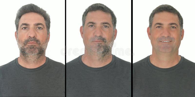 Портрет зрелых взрослых этапов человека расти медведь стоковое изображение rf