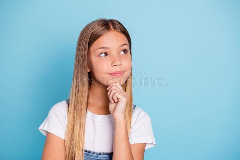 Портрет конца-вверх ее она славная милая любопытная умная умная умная привлекательная запомненная прям-с волосами блондинка pre стоковая фотография rf
