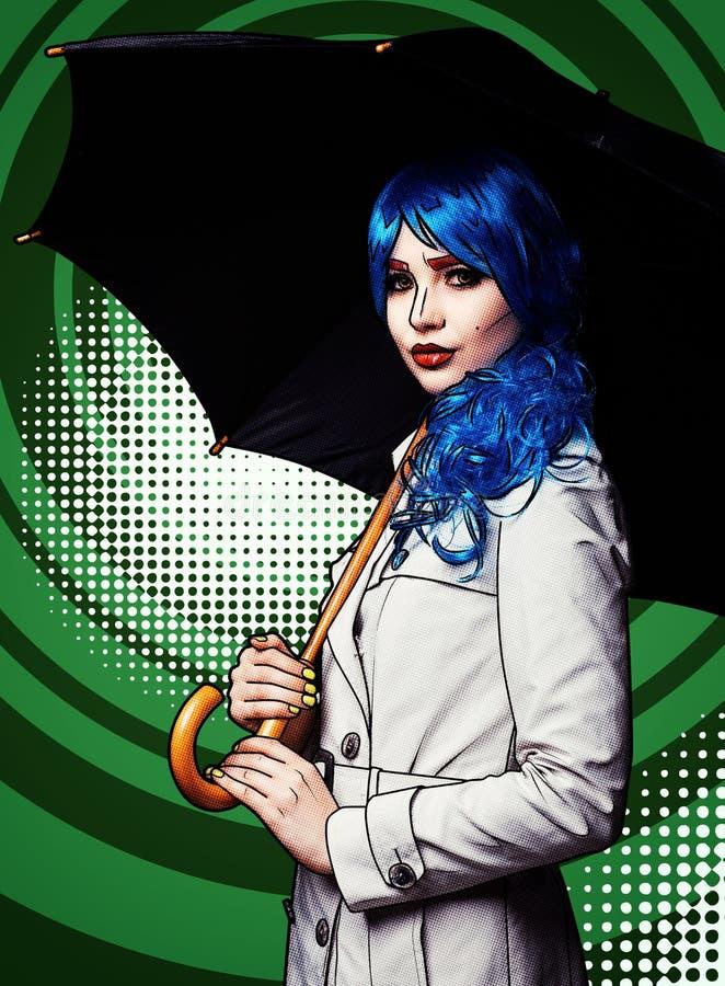Портрет молодой женщины в шуточном стиле состава искусства шипучки Женщина с зонтиком на зеленой предпосылке мультфильма стоковые изображения