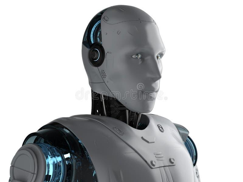 Портрет робота гуманоида иллюстрация штока