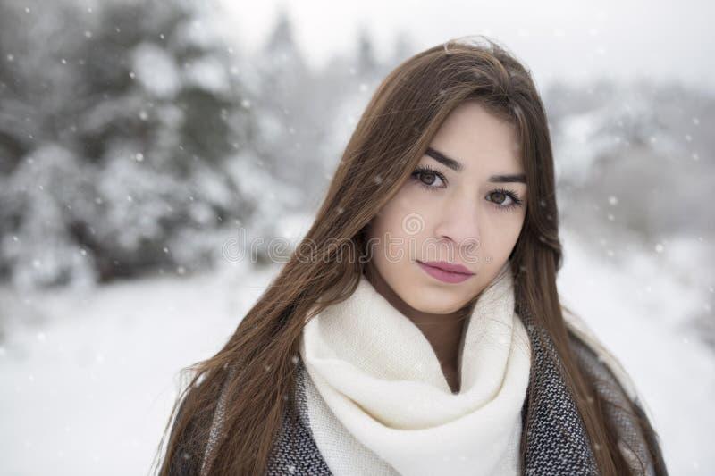 Портрет brunett красоты в пейзаже зимы падая снежинки Деревья покрывают снегом стоковые изображения rf