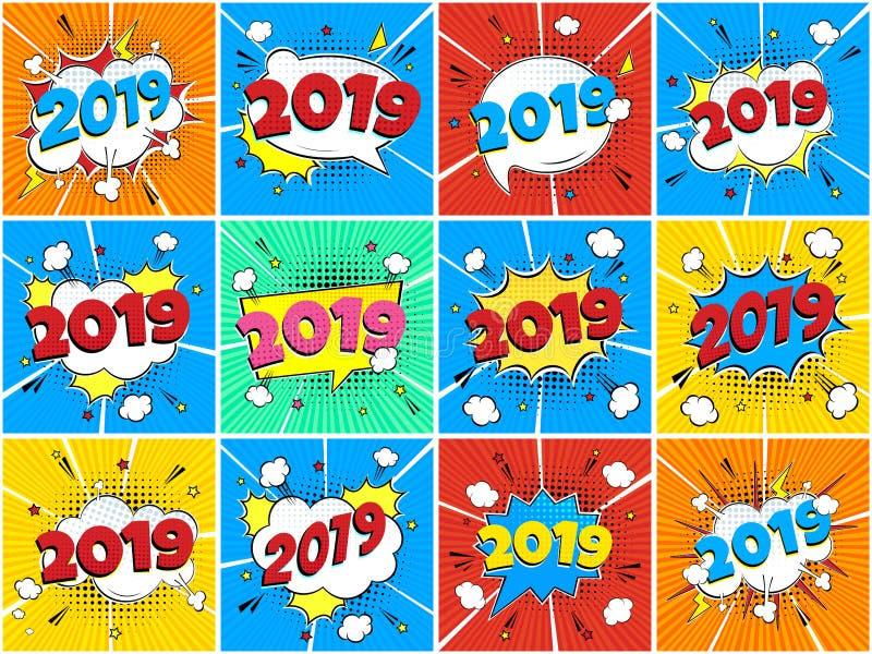 ПÐ?Ñ-‡ Ð°Ñ 'ÑŒ2019 guten Rutsch ins Neue Jahr-Weihnachtskomische Pop-Arten-Spracheblasensatz-Vektorillustration Bunter Pop-Arten vektor abbildung
