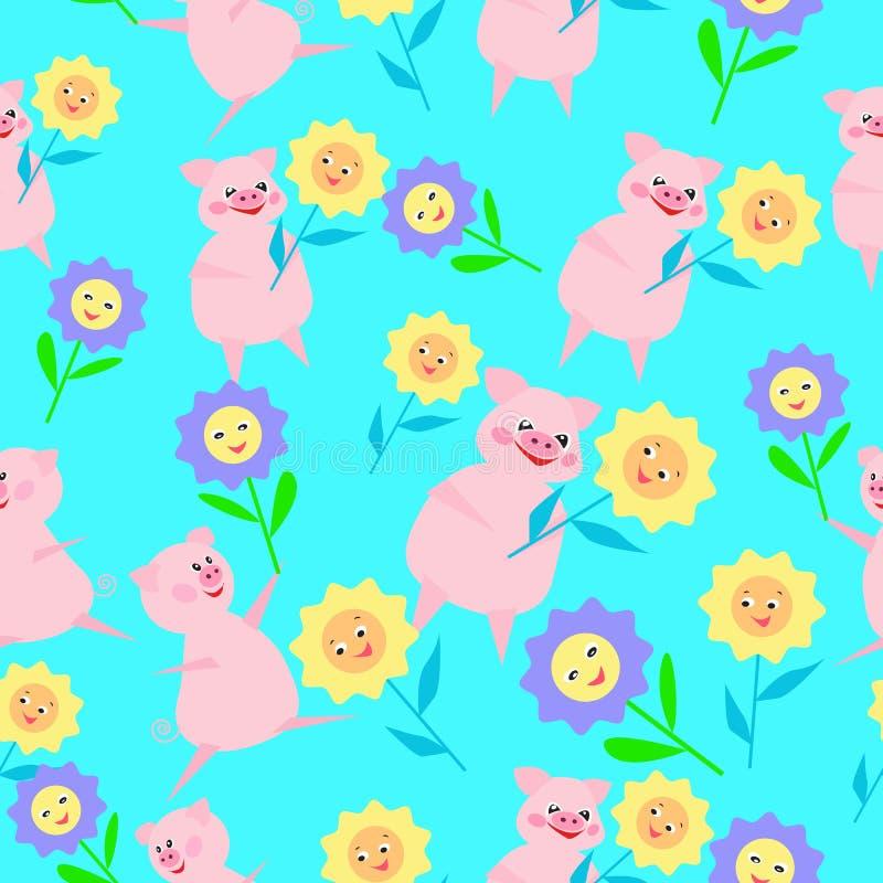 ПÐΜÑ ‡ Ð°Ñ 'ÑŒSeamless与猪和花的儿童的样式新年2019年 皇族释放例证