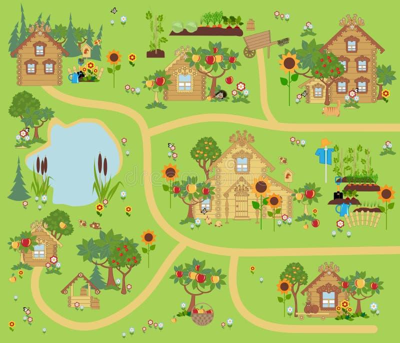 ПÐΜÑ ‡ Ð°Ñ 'ÑŒSmall wioska z drewnianymi domami ilustracji