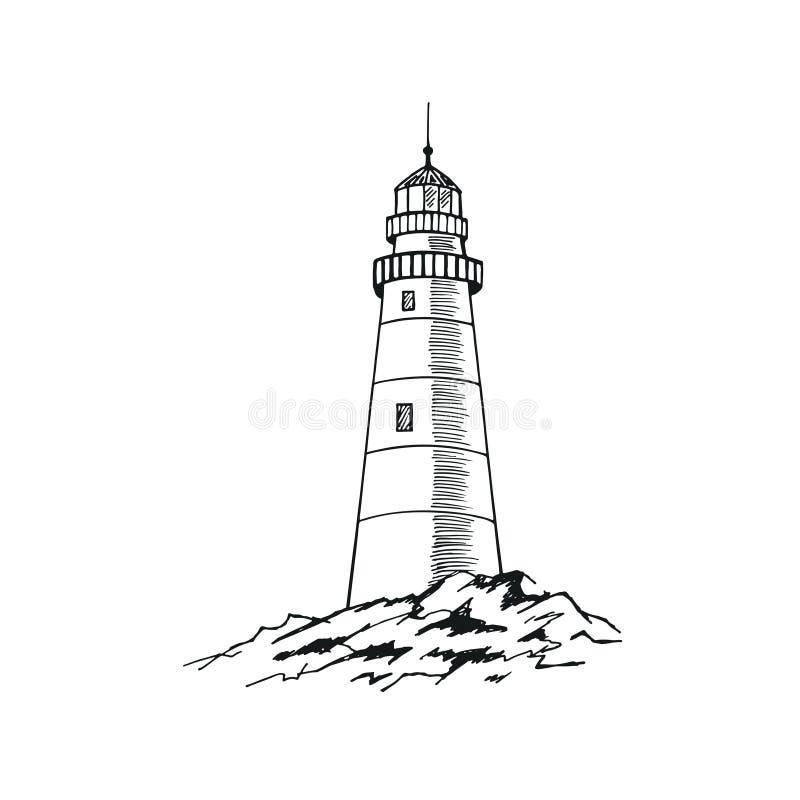 ПÐΜÑ ‡ Ð°Ñ 'ÑŒThe latarni morskiej nakreślenie Ręka rysująca wektorowa ilustracja royalty ilustracja